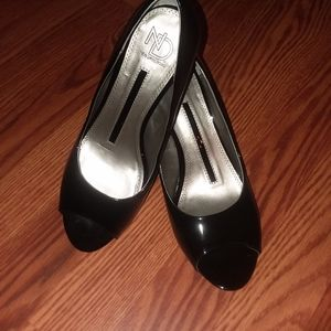 New Direction's black patent leather, open toes